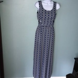 Geometric Navy Print Cut Out Waist Maxi Dress
